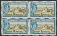 Bahamas SG159 1938 Definitive 6d mounted mint block of 4